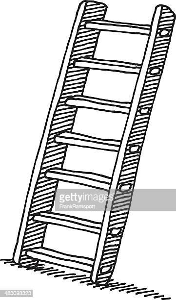 wooden ladder drawing - ladder stock illustrations, clip art, cartoons, & icons
