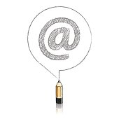 Wooden Lead Pencil Drawing At sign in Round Speech Balloon