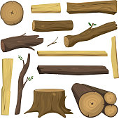 Wooden materials tree logs vector isolated