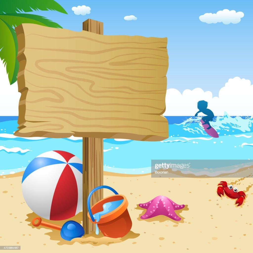 Wooden Notice Board at Summer Beach : stock illustration
