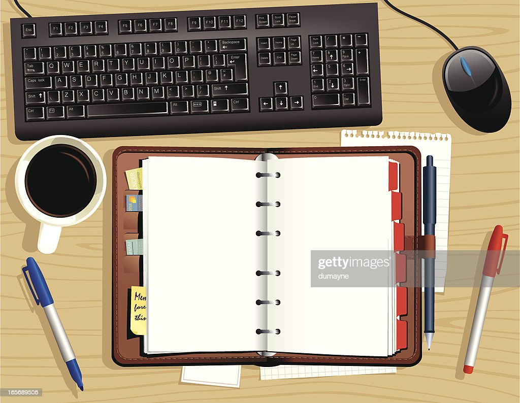 Wooden office desktop and diary organiser