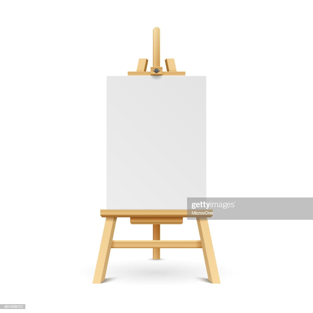 Wooden paint board with white empty paper frame. Art easel stand with canvas vector illustration