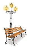 Wooden park bench and street lamp against white background