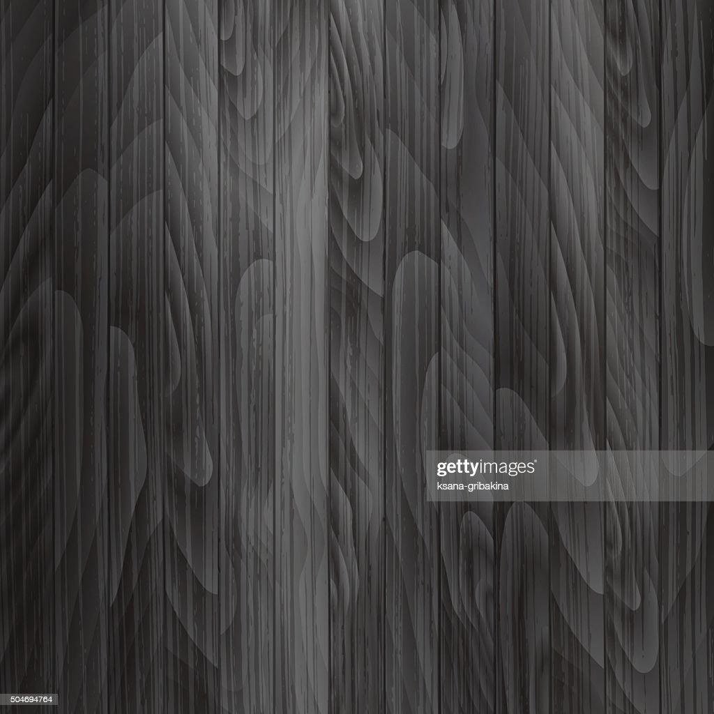 Wooden plank background in dark gray color. Vector texture.