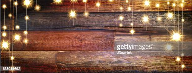 Wooden planks banner background with string lights