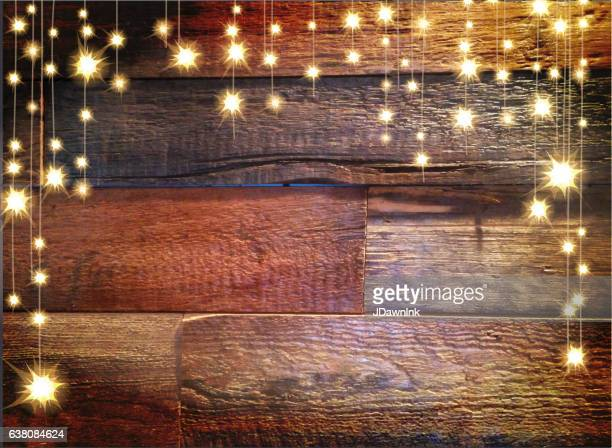 Wooden planks horizontal background with string lights