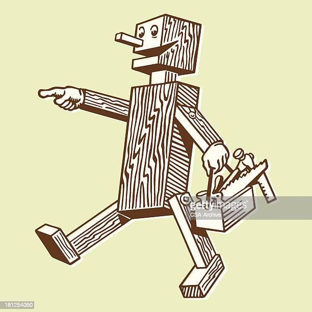 wooden robot carrying a toolbox - carpentry stock illustrations