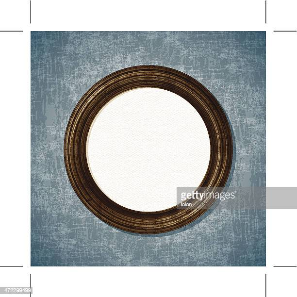 wooden round picture frame