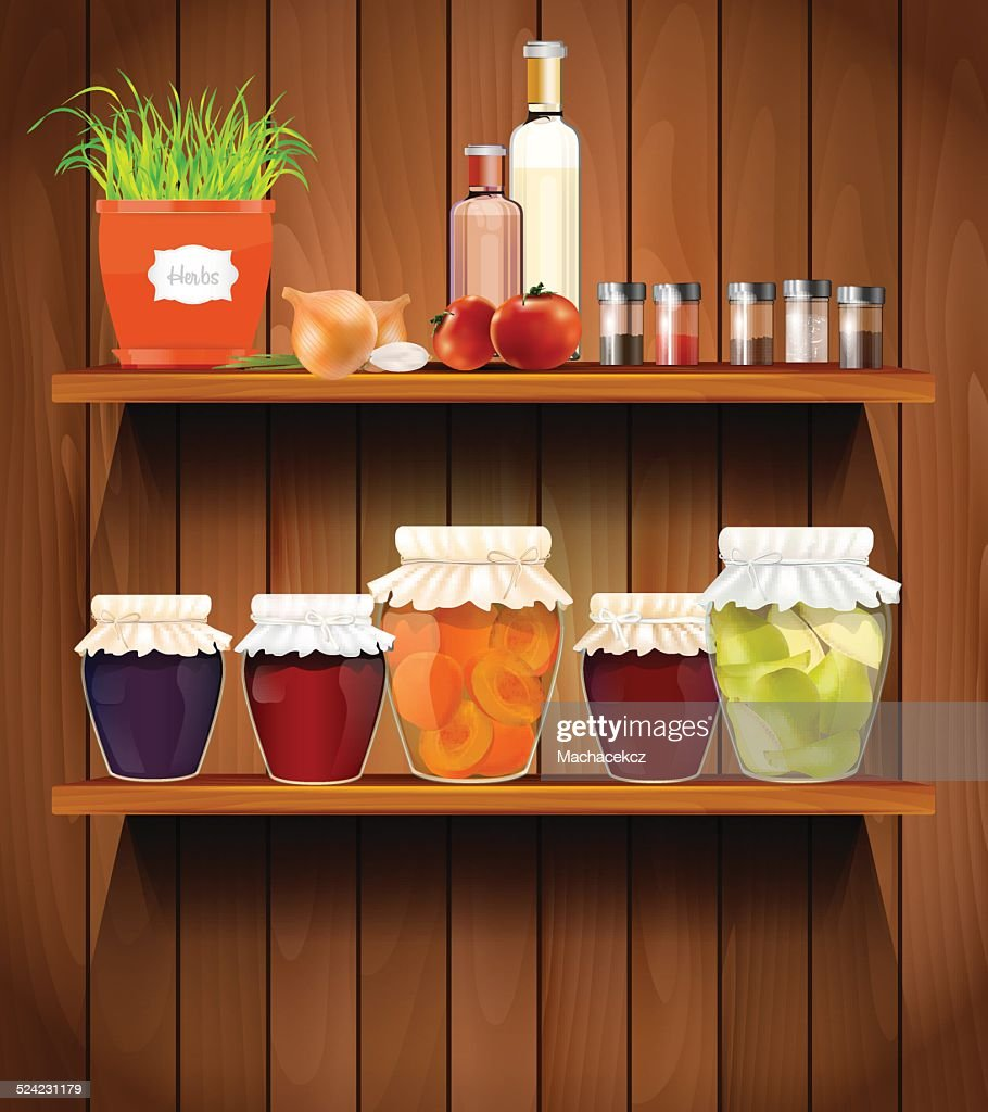 Wooden shelves with the foods in the pantry