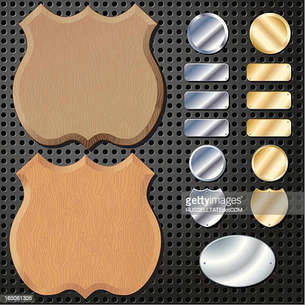 wooden shields - award plaque stock illustrations