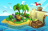 Wooden ship near the tropical island