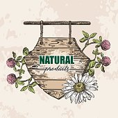 wooden sign wild flowers sketch style