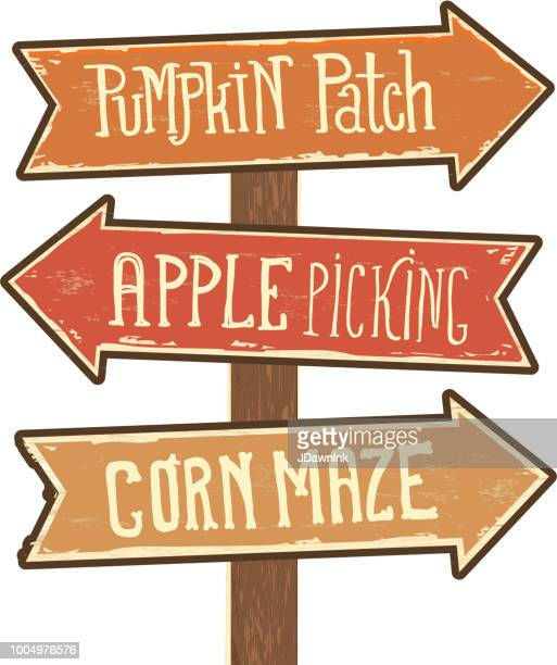 wooden sign post with arrows pointing to pumpkin patch, apple picking and corn maze - directional sign stock illustrations