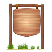 Wooden sign standing in grass  isolated on white background vector.Cartoon style  signpost