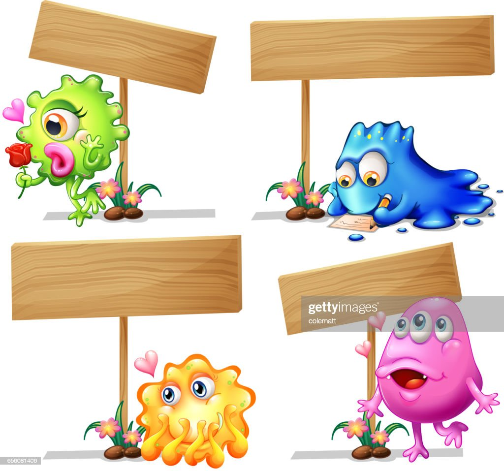 wooden sign template with monsters vector art getty images