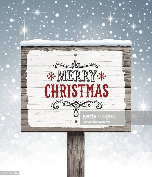 wooden sign with christmas message - brown stock illustrations