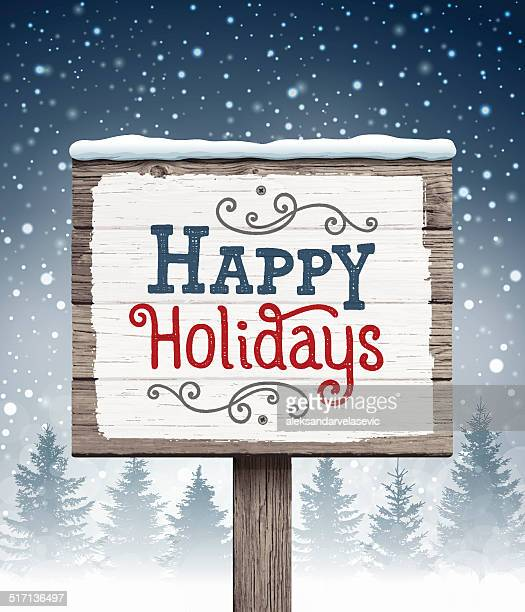 Wooden Sign with Holiday Greetings