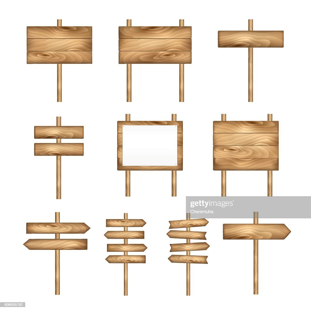 Wooden signboards, wood arrow sign set. Empty vector signboard banner.