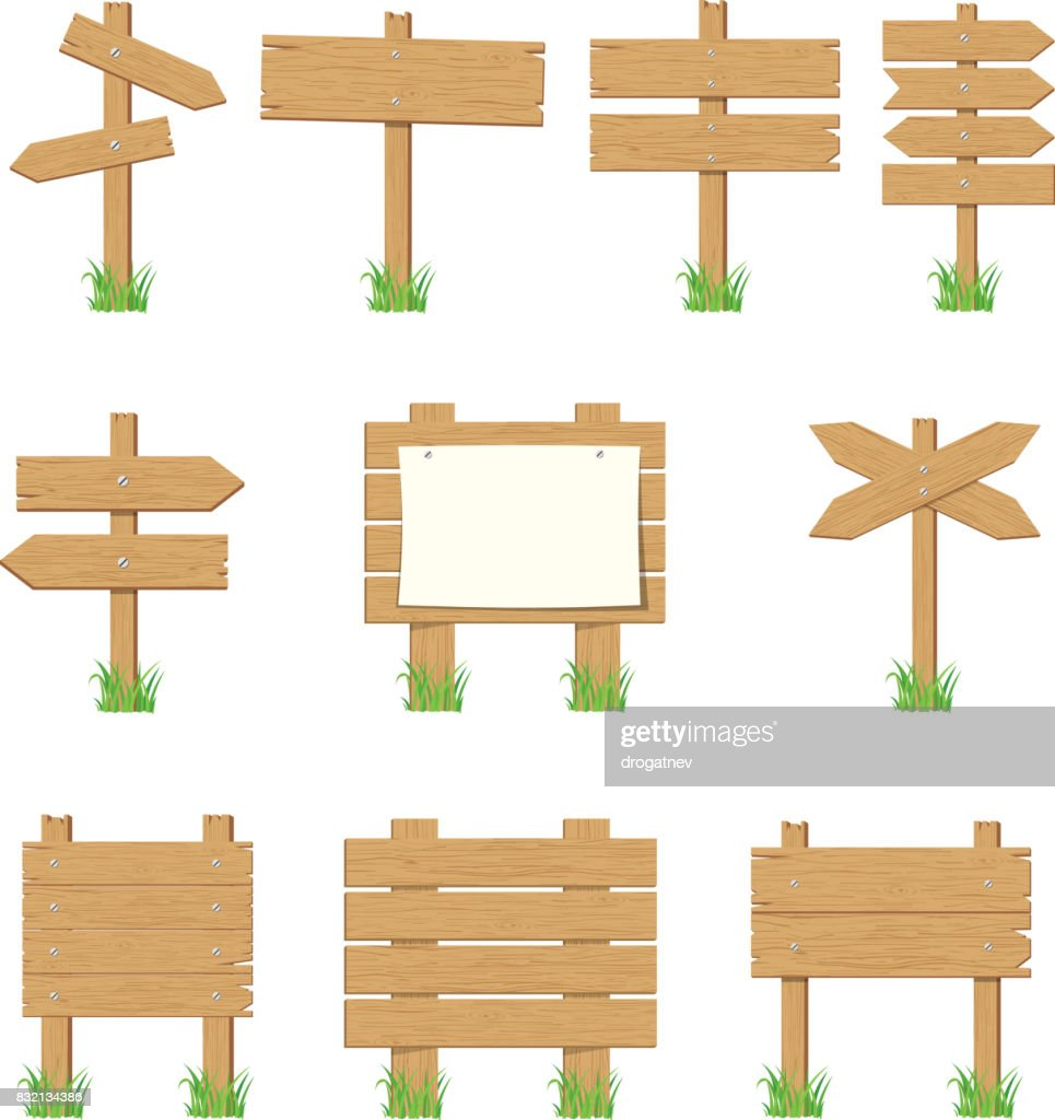 Wooden signboards, wood arrow sign set.