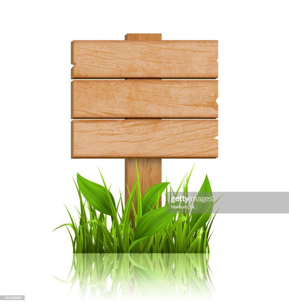 Wooden Signpost with Grass and Reflection on White