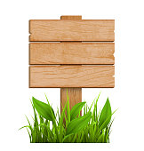 Wooden Signpost with Grass Isolated on White