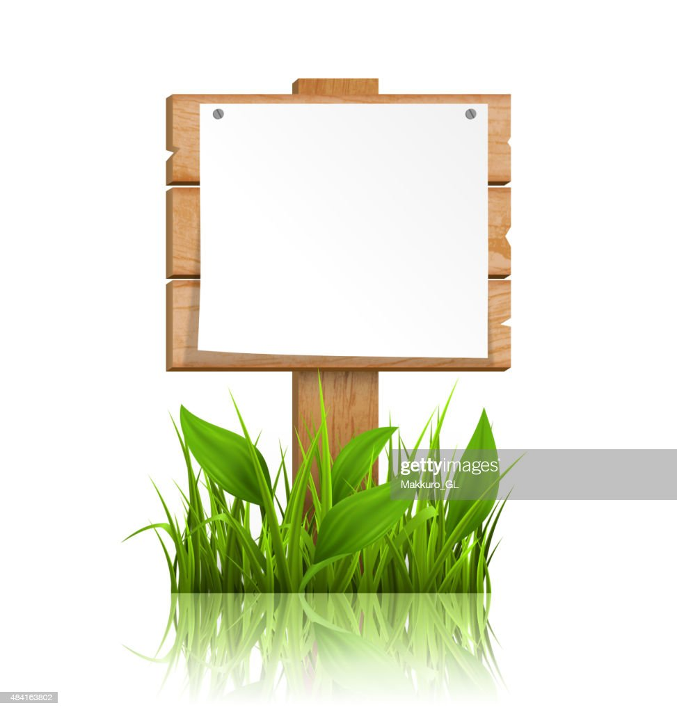 Wooden signpost with grass paper and reflection on white
