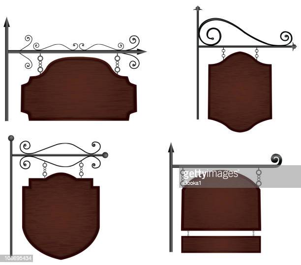 wooden signs - draped stock illustrations