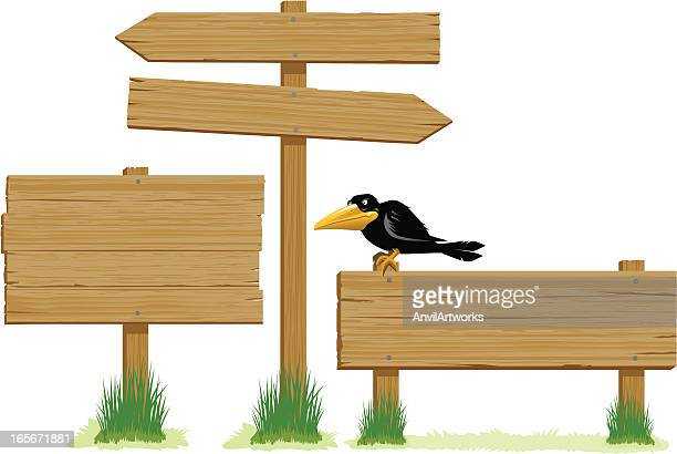 wooden signs - directional sign stock illustrations