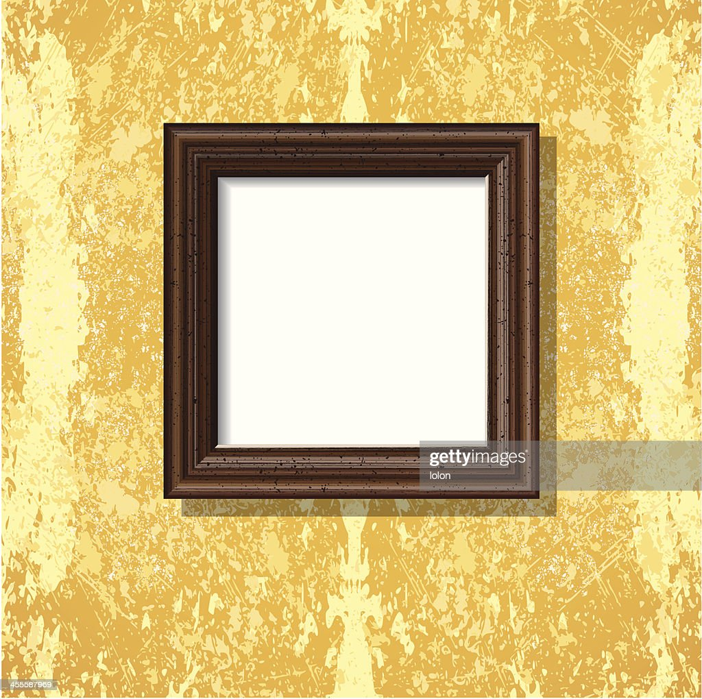 Wooden Square Frame On Bright Tuscany Wall Vector Art | Getty Images