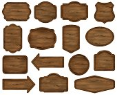 Wooden stickers, label collection. Wooden sign boards.