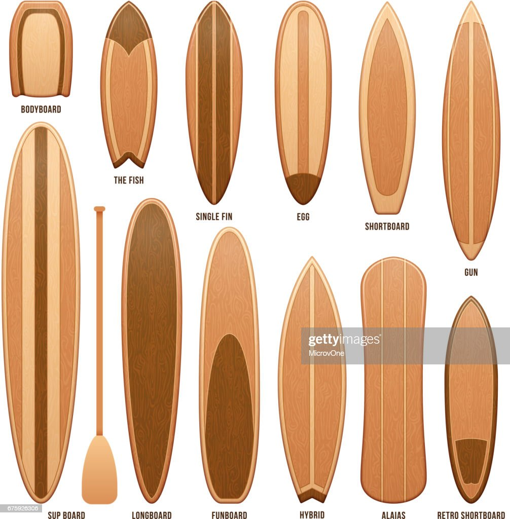 Wooden surfboards isolated on white vector illustration