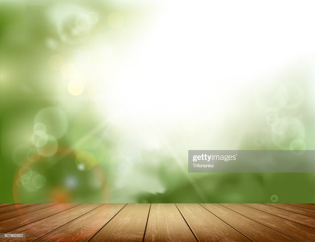 Wooden table on natural background