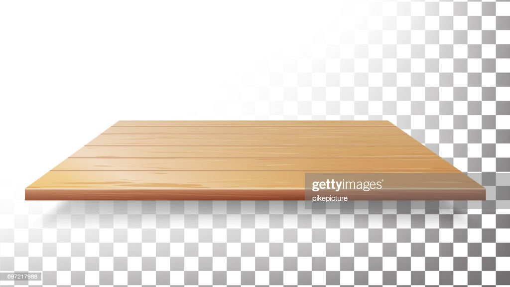 Wooden Table Top, Floor, Wall Shelf Vector. Realistic Wood Texture Isolated