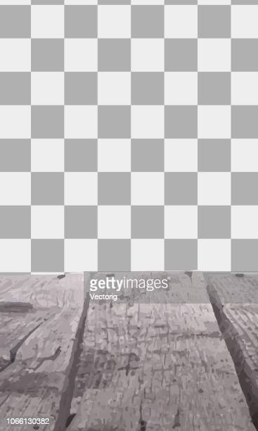 wooden table with a view of blurred beverages bar backdrop - wood material stock illustrations