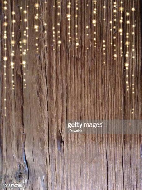 文字列のライトと木製のテクスチャ背景 - ストリングライト点のイラスト素材/クリップアート素材/マンガ素材/アイコン素材