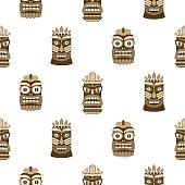 Wooden tiki mask seamless pattern vector