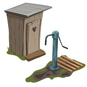 Wooden toilet and water pump, vector isolated