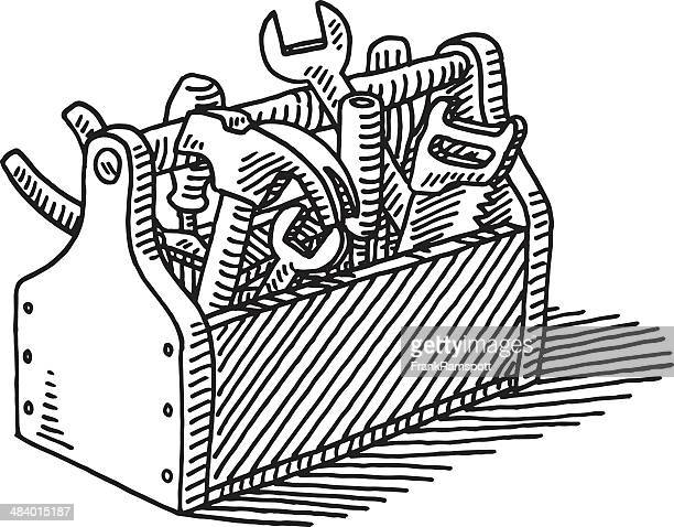 wooden toolbox drawing - work tool stock illustrations