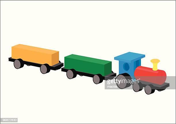 木製おもちゃの列車 - 模型の汽車点のイラスト素材/クリップアート素材/マンガ素材/アイコン素材