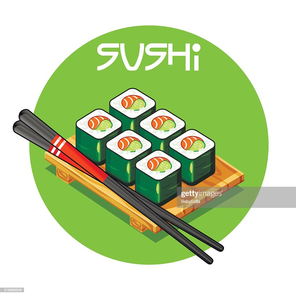 Wooden tray with Sushi vector-Japanese food