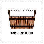 Wooden tub, basket isolated on white background.  Flat colored icon.