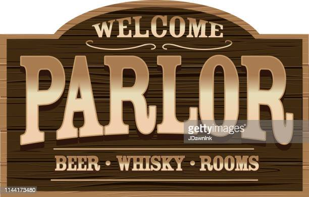 Wooden Welcome Sign for a Wild West Parlor