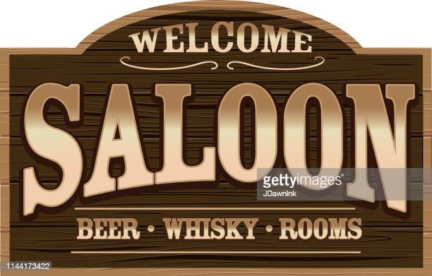 Wooden Welcome Sign for a Wild West Saloon