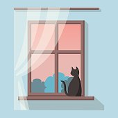 Wooden window with pink and blue landscape view. Black cat is sitting on the windowsill and looks away. Vector illustration in flat cartoon style. Cosy sweet home interior.