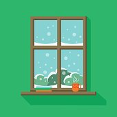 Wooden window with snowy landscape view. Books and a cup of hot coffee or tea are standing on the windowsill. Vector illustration in flat cartoon style. Cosy sweet home interior