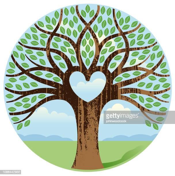 woodgrain round heart tree illustration - family tree stock illustrations