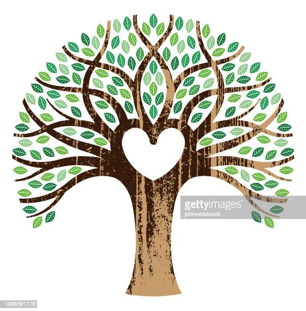 woodgrain tree and heart illustration - tree trunk stock illustrations, clip art, cartoons, & icons