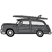 Woodie Surf Wagon Illustration