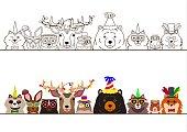woodland animals in party fashion border set