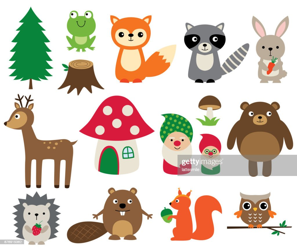Woodland animals, isolated vector set